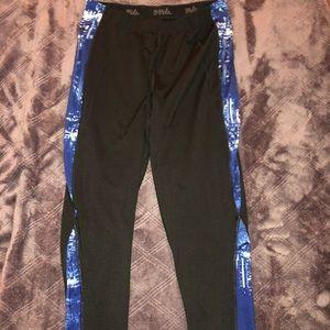 Fila black legging with blue and white striped leg